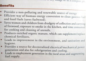 Extensive list of biogas benefits (Source: Indian Ministry of New and Renewable Energy)